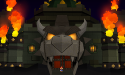 Screenshot of the front of Bowser's Sky Castle, from Paper Mario: Sticker Star.
