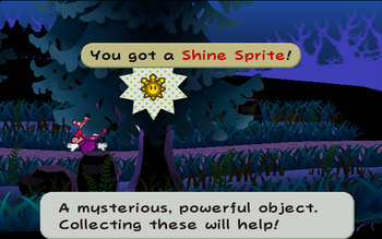 Mario next to the Shine Sprite in Twilight Trail in Paper Mario: The Thousand-Year Door.