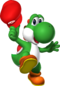 Yoshi holding Mario's Cap artwork from Super Mario 64 DS.
