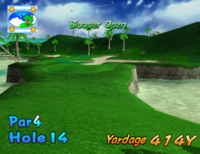 The fourteenth hole of Blooper Bay from Mario Golf: Toadstool Tour.