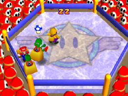 Grab Bag: Four players competing in snagging each others Mushrooms from the back of their bags they're carrying. From Mario Party 2.