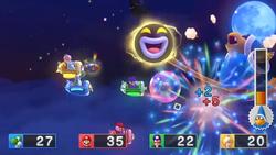 Kamek summons a Big Amp in Kamek's Rocket Rampage in Mario Party 10.