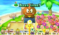 Yellow Toad confronting Mega Goomba from Mario Party: Star Rush