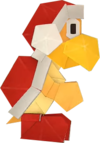 An origami Fire Bro from Paper Mario: The Origami King.