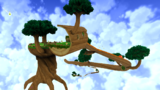 """A screenshot of Tall Trunk Galaxy during the """"Tall Trunk's Big Slide"""" mission from Super Mario Galaxy 2."""