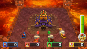 Boss minigame from Mario Party 10; Bowser's Tank Terror 1st phase.