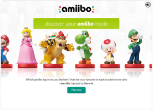 A screenshot of the title screen for the Discover your amiibo inside game