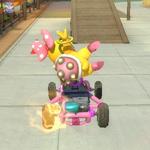 Wendy O. Koopa performing a trick. Mario Kart 8.