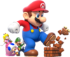 Artwork of Mega Mario and the three other playable characters, from Super Mario 3D World.