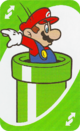 The Green Reverse card from the UNO Super Mario deck (featuring Mario and a Warp Pipe)