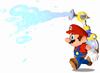 Mario sprays water from F.L.U.D.D. in Super Mario Sunshine.