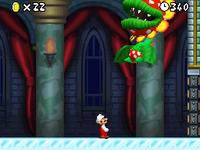Mario battling Petey Piranha