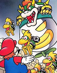 Super Mario World: Bowser in his Koopa Clown Car throwing Mechakoopas towards Mario