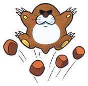 Artwork of a Monty Mole from Super Mario World.