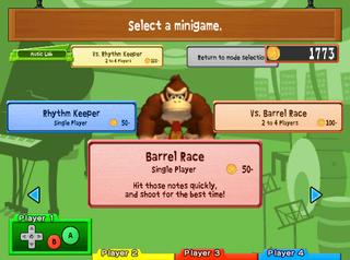 """The """"Music Lab"""" menu of Donkey Konga 2."""
