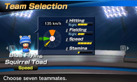 Blue Flying Squirrel Toad's stats in the baseball portion of Mario Sports Superstars