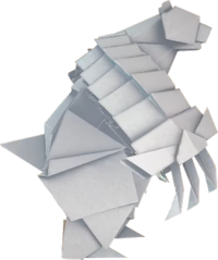 An origami Ice Vellumental from Paper Mario: The Origami King.