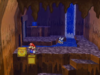 Mario next to the Shine Sprite above water in the Great Tree.