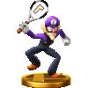 Waluigi's trophy render from Super Smash Bros. for Wii U