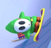 A Snowboarding Shy Guy in Mario Kart Tour