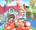 The icon of the Shy Guy Cup challenge from the 2020 Trick Tour and the Peach Cup challenge from the Peach vs. Daisy Tour in Mario Kart Tour.