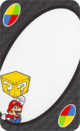 The White Mario card from the UNO Super Mario deck (featuring Mario and a? Block)
