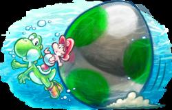 Artwork of Baby Mario and Yoshi swimming, from Yoshi's New Island.