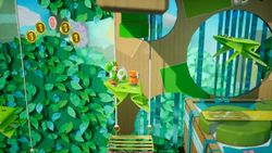 Hoppin' Higher, the second level of Rumble Jungle in Yoshi's Crafted World.