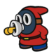 The Red Whistle Snifit sprite from Paper Mario: Color Splash.
