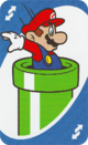 The Blue Reverse card from the UNO Super Mario deck (featuring Mario and a Warp Pipe)