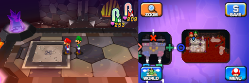 Location of the first beanhole in Neo Bowser Castle (Dream Team's version).