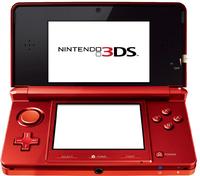An open red Nintendo 3DS.