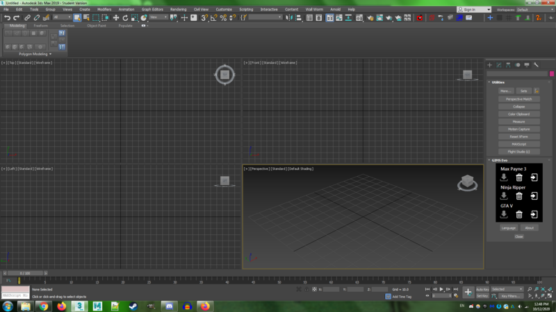 An empty screen for 3DS Max 2019, student version