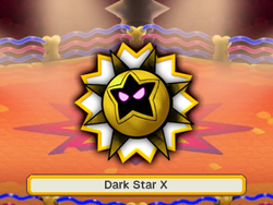 An artwork of the X boss before fighting it. In this case, it's Dark Star.