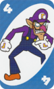 The Blue Four card from the UNO Super Mario deck (featuring Waluigi)