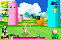 Princess Peach taking a shot at the Mushroom Tourney (golf course).