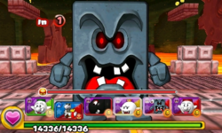 Screenshot of World 6-Castle, from Puzzle & Dragons: Super Mario Bros. Edition.