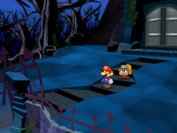 Screenshot of Mario at a hidden? Block location at the Creepy Steeple's front entrance, in Paper Mario: The Thousand-Year Door.