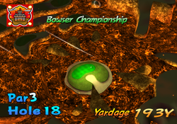 A screenshot of the intro video of hole 18 from bowser badland