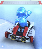 Ice Mario performing a trick.