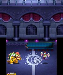 Bowser battling Dark Fawful in Mario & Luigi: Bowser's Inside Story and Mario & Luigi: Bowser's Inside Story + Bowser Jr.'s Journey.