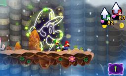 Screenshot of a dream in Mount Pajamaja, from Mario & Luigi: Dream Team