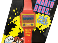 Front side of a Mario Game & Watch game zoomed in.