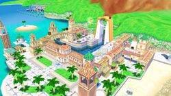 A screenshot of Delfino Plaza, the hub of Super Mario Sunshine, via emulation on the noclip.website.