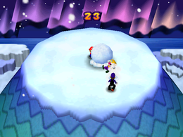 Snowball Summit: Settled on top of the snow peak, players are knocking each other off the place by rolling snowballs into snow boulders. From Mario Party 3.
