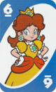 The Blue Six card from the UNO Super Mario deck (featuring Princess Daisy)