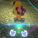Roy Koopa performing a trick. Mario Kart 8.