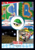 The Shell Cup card from the Mario Kart Wii trading cards