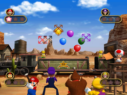 Mario scoring a point in Toad's Quick Draw in Mario Party 4.