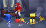 Dr. Eggman challenges a Fog Imposter of Sonic while Metal Sonic, Orbot, and Cubot look on